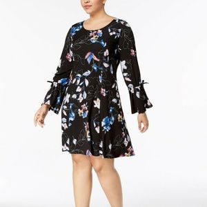 Ny Collection Plus Size Bell-Sleeve Shift Dress 2X